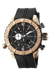 Brera 'Sottomarino' Chronograph Diver Watch 48Mm Black Rose Gold