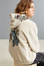 Urban Outfitters Uo Tiger Floral Embroidered Hoodie Sweatshirt Taupe