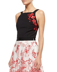 Sachin And Babi Noir 3D Embroidered Floral Tank Jet