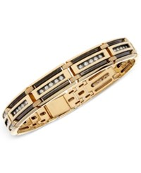 Macy's Men's Diamond Linear Link Bracelet 1 1 3 Ct. T.W. In 10K Gold With Black Rhodium Plating White