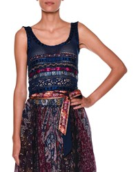 Etro Sleeveless Scoop Neck Ribbon Top Blue Multi Blue Multi