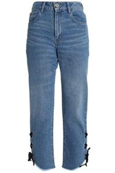 Maje Lace Up Faded High Rise Straight Leg Jeans Mid Denim