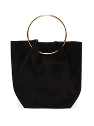 The Row Ring Handle Suede Clutch Black