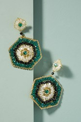 Anthropologie Hexagon Drop Earrings Turquoise