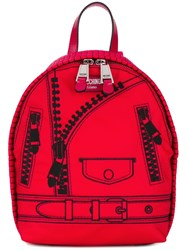 Moschino Trompe L'ail Backpack Red