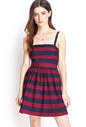 Forever 21 Striped Convertible Cotton Sundress Navy Magenta