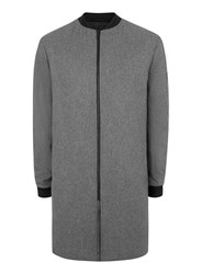 Topman Grey Charcoal Melton Wool Rich Longline Formal Bomber Jacket