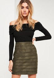 Missguided Khaki Embroidered Detail Faux Suede Mini Skirt