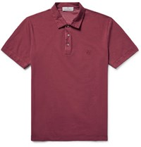 Canali Stretch Cotton Pique Polo Shirt Plum