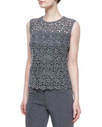 Escada Paneled Floral Lace Tank Top
