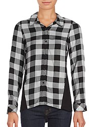 Kensie Herb Checked Button Down Shirt Grey Multi