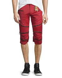 Robin's Jean The Show Knee Panel Moto Shorts Red Men's