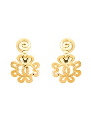 Chanel Vintage Ornate Flower Clip On Earrings Yellow And Orange