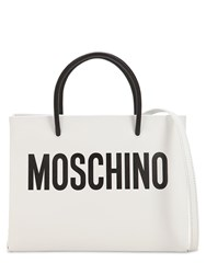 Moschino Logo Printed Leather Shoulder Bag Black White