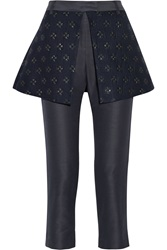 Suno Peplum Layered Woven Straight Leg Pants Blue