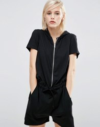 Asos Lounge Casual Hooded Playsuit Black