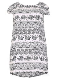 Samya Plus Size Batik Elephant Tunic Dress Black