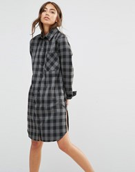 Daisy Street Shirt Dress With Pocket In Check Charcoal Grey Check