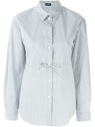 Jil Sander Navy Lace Up Detail Striped Shirt Grey