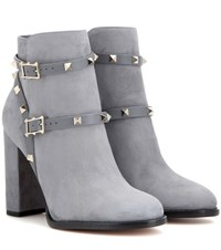 Valentino Rockstud Suede Ankle Boots Grey