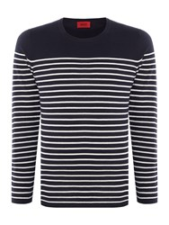 Hugo Men's Soman Knitted Breton Stripe Navy