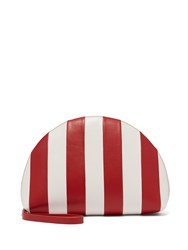 Mansur Gavriel Mini Moon Striped Leather Clutch Red White