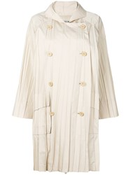 Issey Miyake Vintage Pleated Double Breasted Raincoat Nude And Neutrals