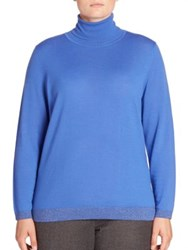 Basler Plus Size Metallic Trim Turtleneck Sweater Cobalt