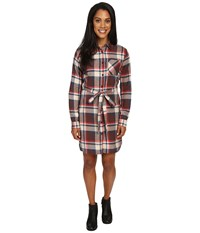 United By Blue Murray Plaid Dress Brown Red Women's Dress