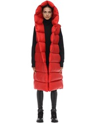 Rick Owens Long Down Vest Red