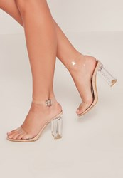 Missguided Clear Perspex Block Heeled Barley There Sandals Nude