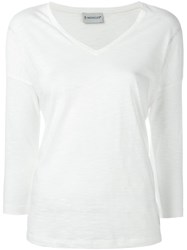 Moncler Cropped Sleeves T Shirt White
