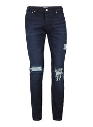 Topman Blue Washed Navy Extreme Ripped Stretch Skinny Jeans