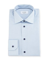 Eton Contemporary Fit Soft Check Dress Shirt White Navy Blue