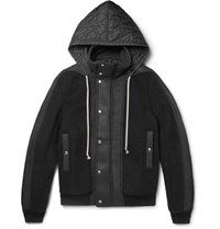 Rick Owens Shell And Leather Panelled Wool Fleece Hooded Jacket Black