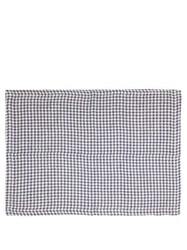 Once Milano Set Of Two Houndstooth Linen Placemats Navy Multi