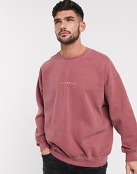 Topman Stockholm Sweat In Washed Burgundy Red