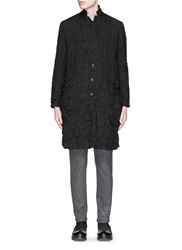 Attachment Crinkle Linen Wool Cashmere Trench Coat Black