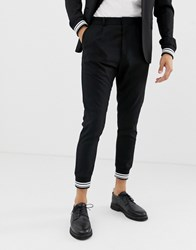 Solid Smart Suit Trouser With Stripe Cuff Ankle In Black