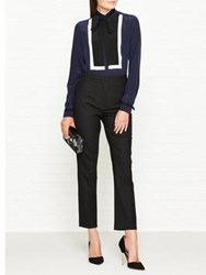 Karl Lagerfeld Silk Color Block Blouse With Tie Navy