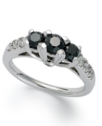 Macy's 14K White Gold Ring Black Diamond 3 Stone Ring 1 Ct. T.W.