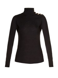 Balmain Roll Neck Button Fastening Sweater Black