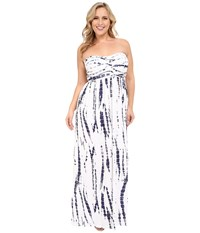 Culture Phit Plus Size Liliana Maxi Dress White Navy Tie Dye Women's Dress