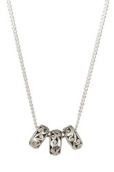 Lois Hill Sterling Silver Signature Cutout Triple Beads Necklace Metallic