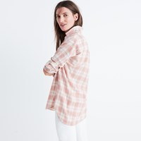 Madewell Central Long Sleeve Shirt In Danville Plaid Dusty Blush