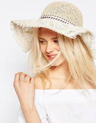 Asos Cross Hatch Bolo Tie Straw Floppy Hat Natural Brown
