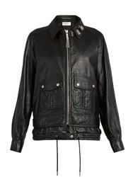 Saint Laurent Oversized Leather Jacket Black
