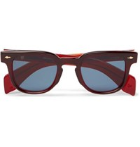 Jacques Marie Mage Jax Square Frame Acetate Sunglasses Burgundy