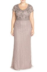 Plus Size Women's Adrianna Papell Beaded Cap Sleeve Gown