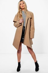 Boohoo Jessica Oversized Collar Wool Look Coat Camel